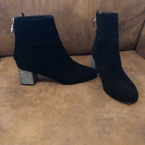 H&M black booties with sparkle 2 inch heel